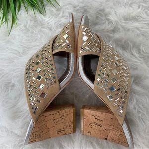 Donald J. Pliner Shoes - Donald Pliner suede cork heels with mirror mosaic